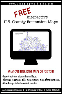 Free Interactive U.S. County Formation Maps by GenealogyGirlTaks.com #genealogy #familyhistory #maps #interactive