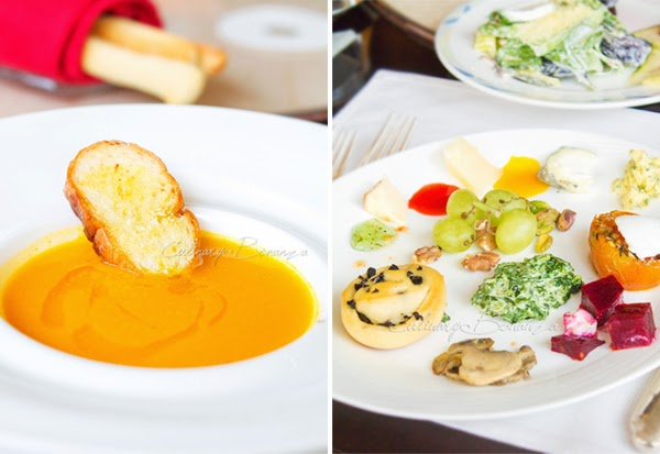 Left: Pumpkin Soup Right: Antipasti