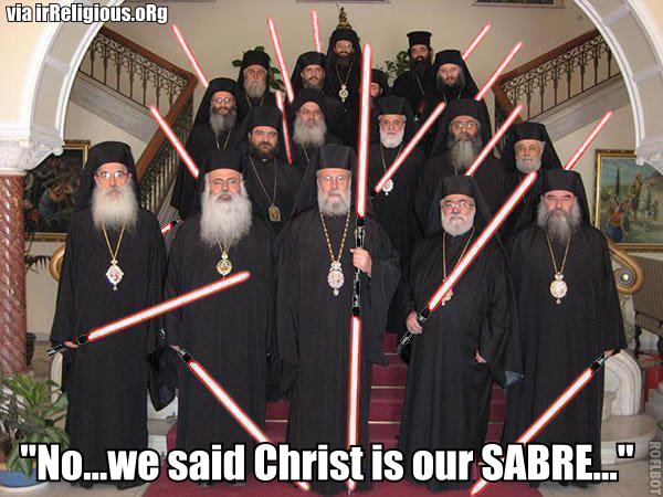 "Funny Caption Competition #25 - ""No...we said Christ is our SABRE..."""
