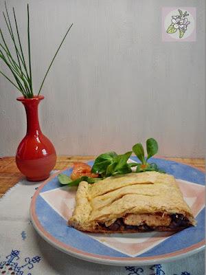 Hojaldre de Tofu, Champiñones y Puerro.
