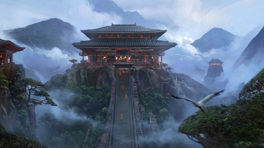 Japanese, Temple, Mountains, Fantasy, Art, 4K, #4.1037