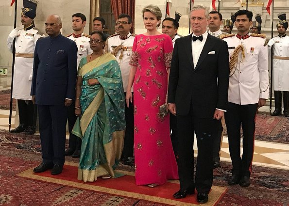 Queen Mathilde wore Dries Van Noten gown from Spring Summer 2018 collection at state Dinner. Ram Kovind