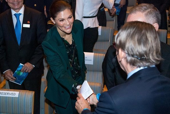 Crown Princess Victoria wore Tiger of Sweden Molena suit, Gianvito Rossi Levy 85 ankle boots, carried Valentino shoulder bag