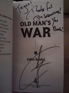 "Title page of Old Man's War by John Scalzi. Autographed and snscribed with ""Tegan, thanks for the brownies! You rock!"""