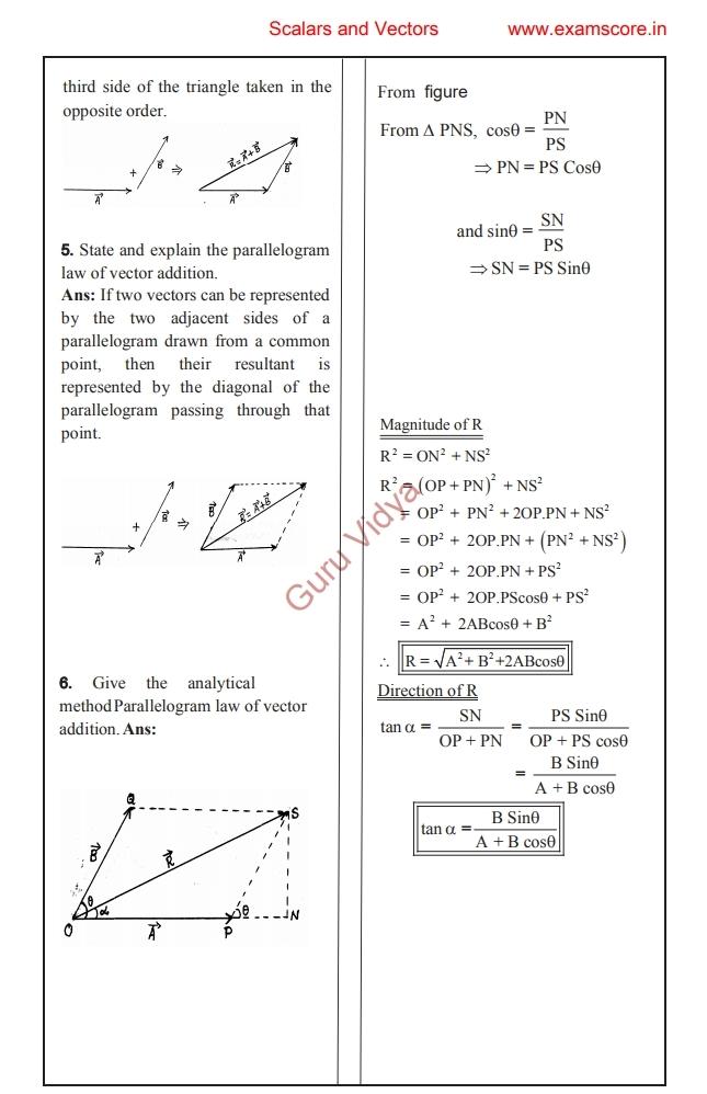 Notes for Chapter 2 Scalars and Vectors class XI SSC Maharashtra