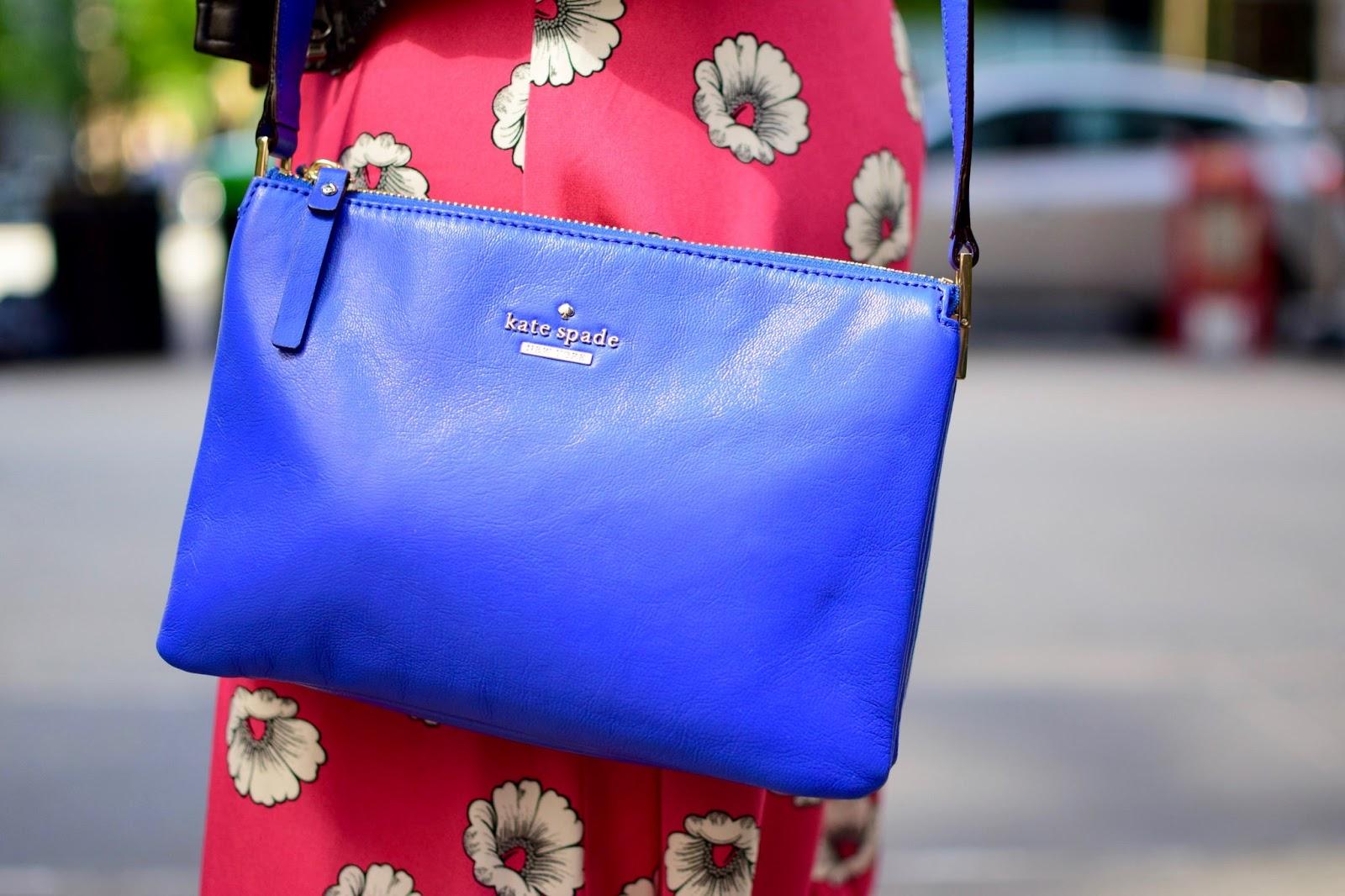 cobalt blue kate spade purse