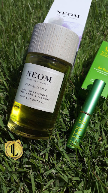 Neom Organics 'Tranquility' Bath & Shower Oil and Tata Harper 'Be True' Lip Treatment - www.modenmakeup.com