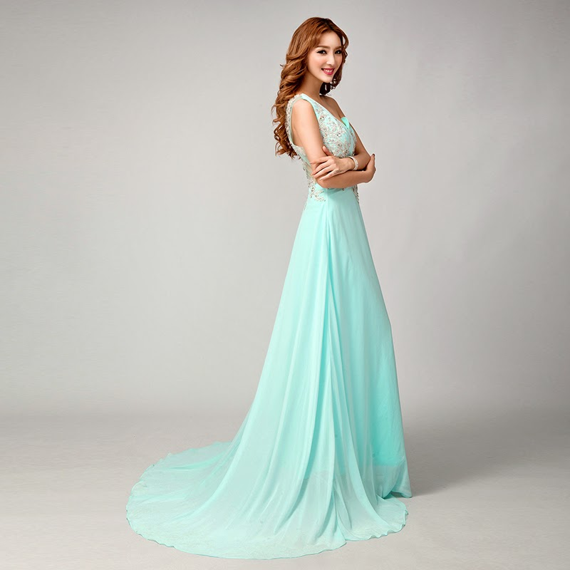 Wedding Gown Malaysia: Mint Colour Sweep Trail Elegant Prom Dress :: My Gown Dress