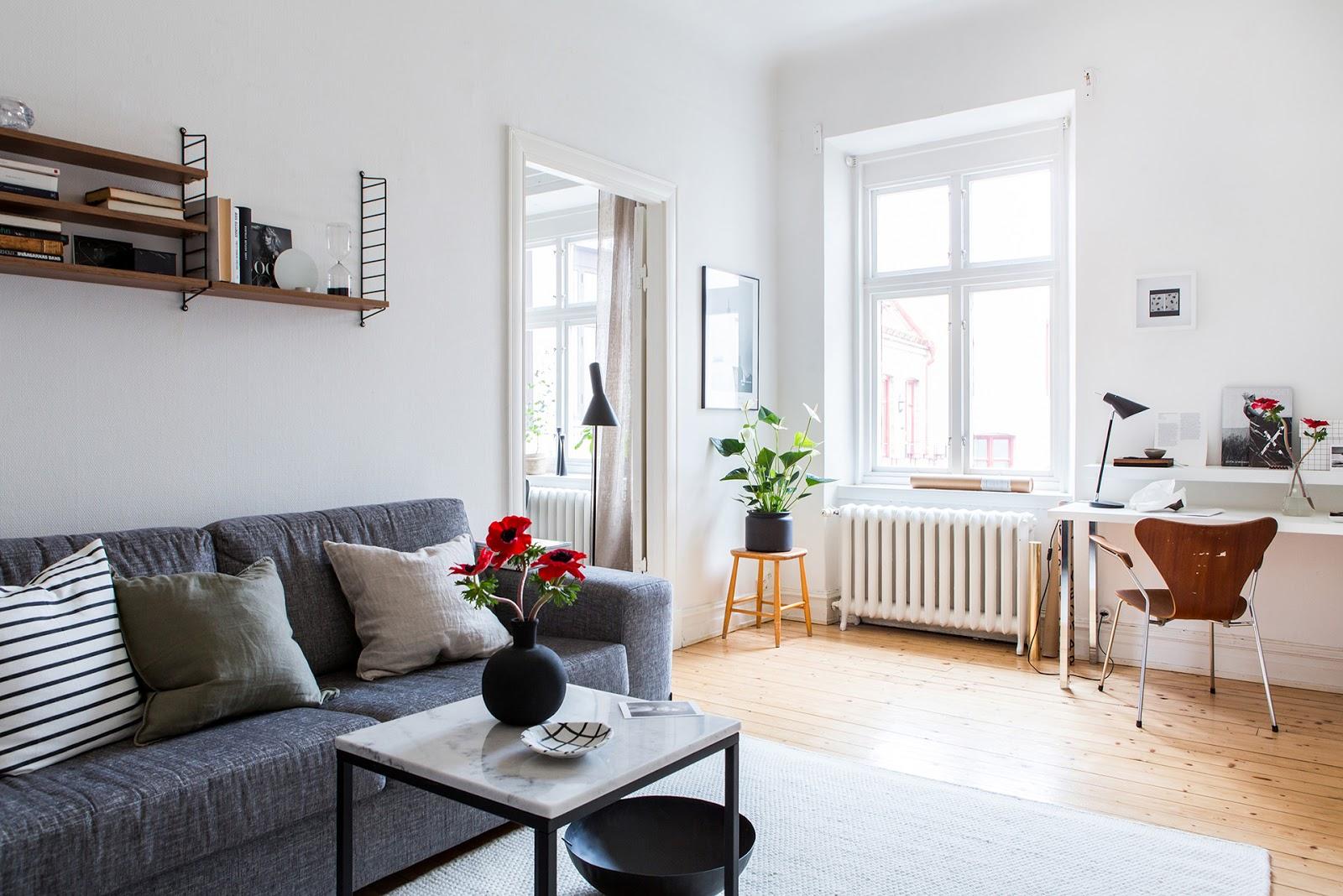 Salon, estilo nordico, decoracion nordica, sofa gris, funda cojin, cojines nordicos, estilo nordico, alquimia deco