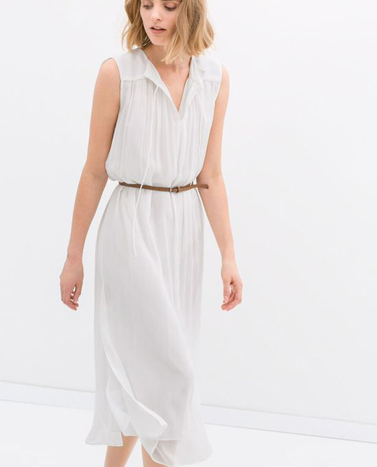Fashion: Long dress with belt from Zara.