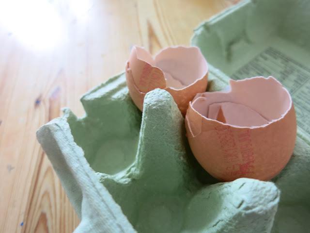 two egg shells in an egg carton