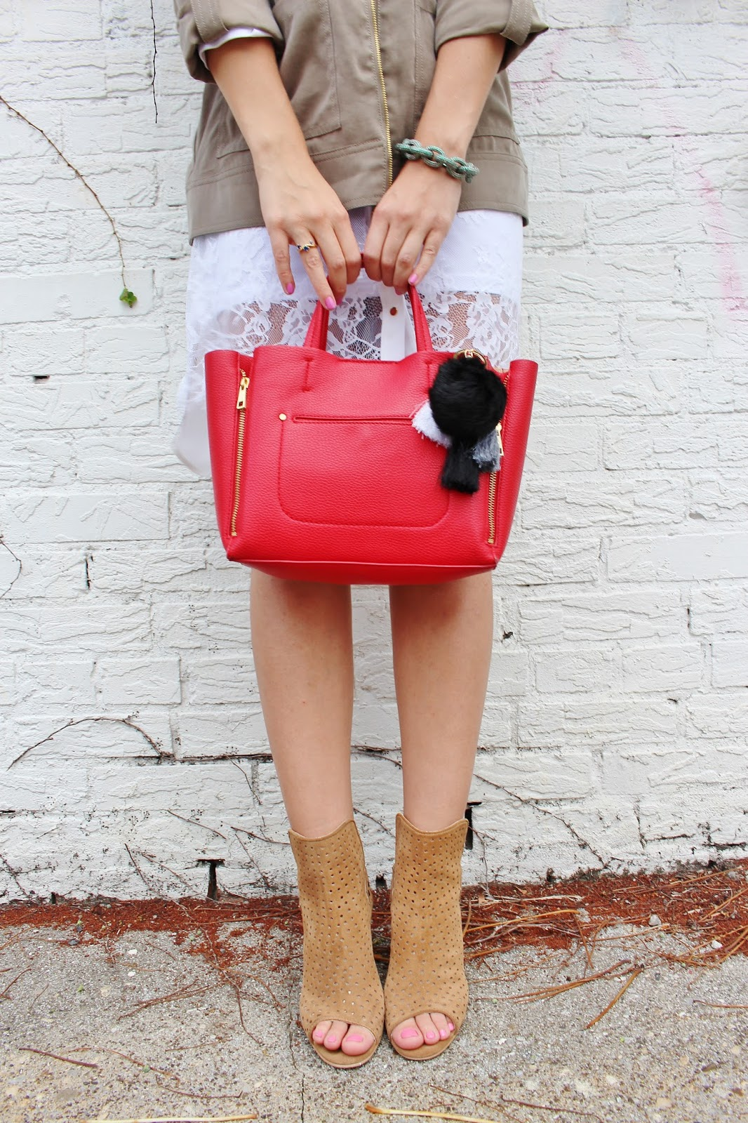 bijuleni- booties and Ann Taylor red tote