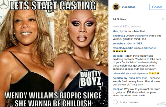 Snoop Dogg posts wendy williams picture along with that of drag queen ru paul