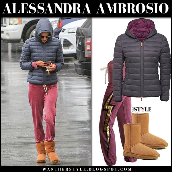 Alessandra Ambrosio in grey puffer save the duck jacket, sundry sweatpants and brown suede ugg boots model street style march 2
