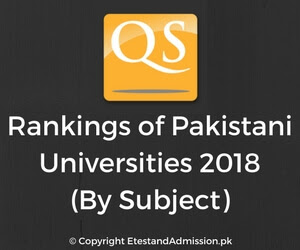 QS Ranking of Pakistani Universities 2018 by Subject