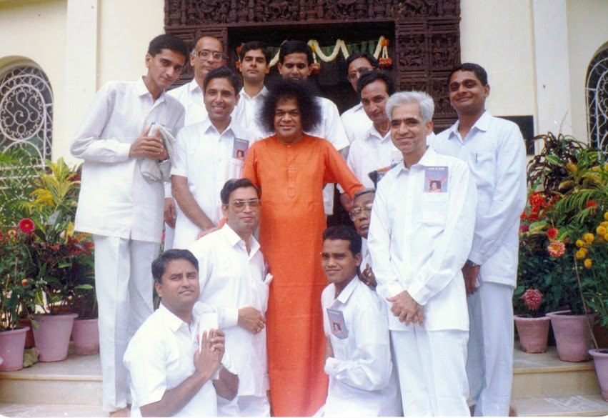 Image result for images of Sathya Sai Baba with teachers in the university