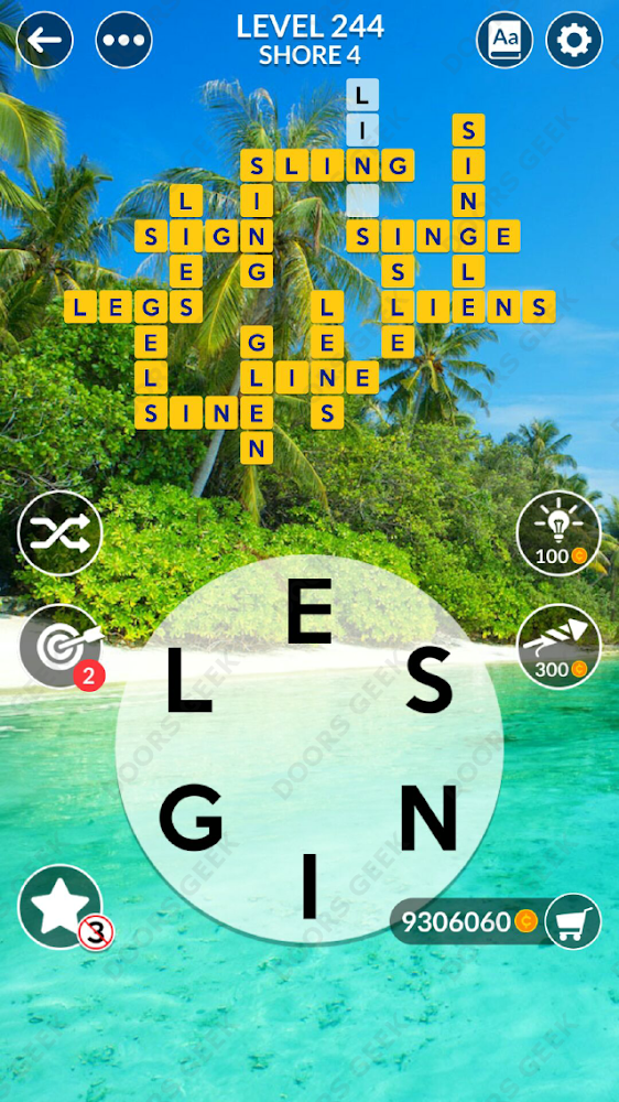 Wordscapes Level 244 answers, cheats, solution for android and ios devices.