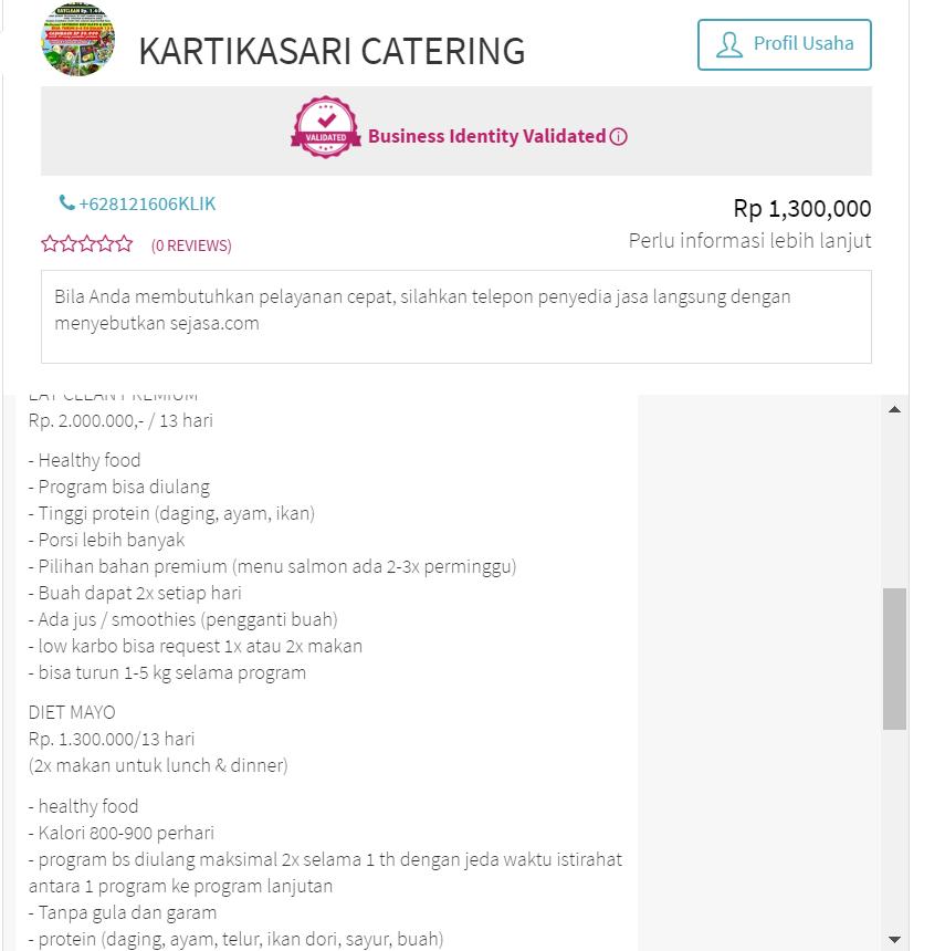 Harga Paket Catering Diet Mayo Sehat Surabaya & Sidoarjo
