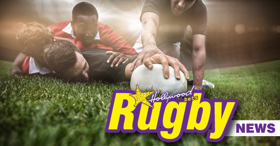 Rugby players compete for ball