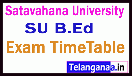 Satavahana University B Ed  Exam Time Table