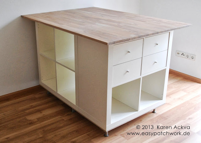 Cutting table with storage for customized sewing room