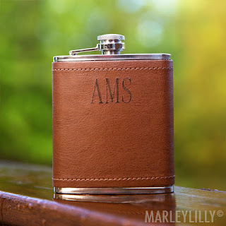 personalized gift idea for him - leather flask