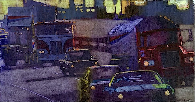 A Bernie Fuchs illustration of highway traffic
