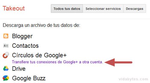 Transfiere tus conexiones de Google+ a otra cuenta