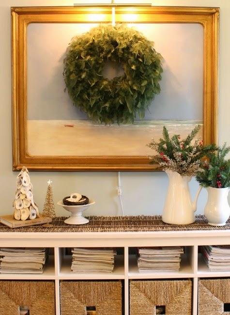 a home with an organic coastal Christmas theme