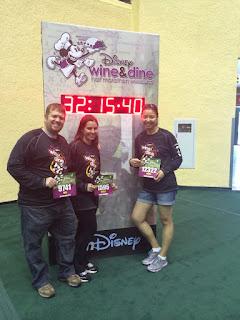 My husband, best friend, and me running the runDisney Wine and Dine half marathon in 2013.