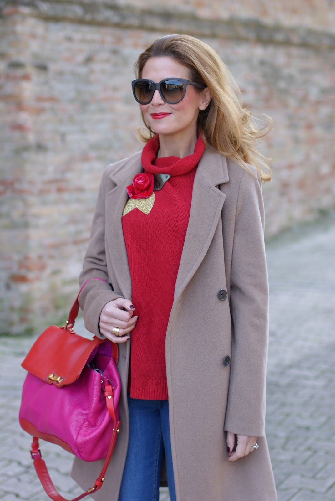 Camel boyfriend coat and red sweater on Fashion and Cookies fashion blog, fashion blogger style