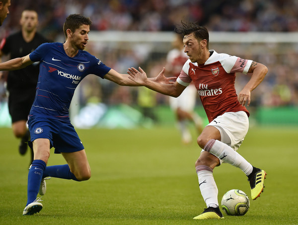 Mesut Ozil of Arsenal and Jorginho of Chelsea during the Pre-season friendly International Champions Cup game between Arsenal and Chelsea at Aviva stadium on August 1, 2018 in Dublin, Ireland. (July 31, 2018 - Source: Charles McQuillan/Getty Images Europe)
