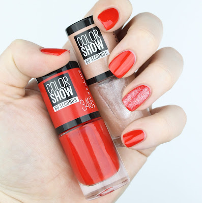 maybelline colour show 30 seconds nail polish 349 power red 46 sugar crystals review swatch swatches