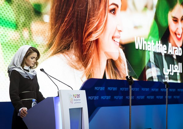 Queen Rania of Jordan attended Misk Global Forum 2017 (MGF) held at Four Seasons Hotel in the Saudi capital Riyadh