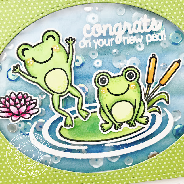 Sunny Studio Stamps: Froggy Friends New Pad Shaker Card by Amy Yang