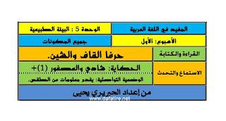 جذاذات اللغة العربية للمستوى الأول الأسبوع  الأول- من الوحدة الخامسة- مرجع المفيد