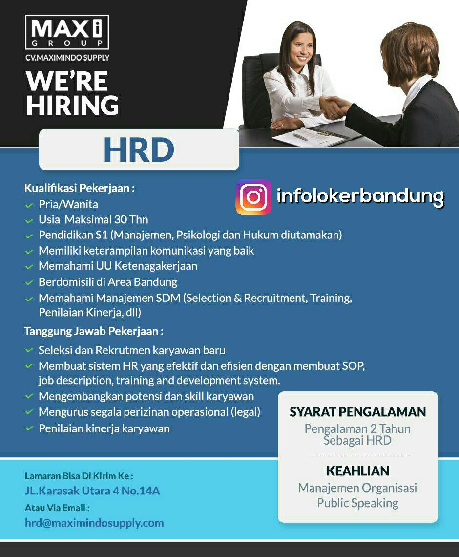 Lowongan Kerja HRD CV. Maximindo Supply Bandung Juli 2017