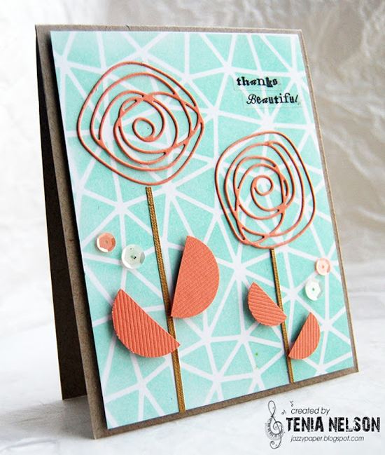 Abstract stencil and Lisa Johnson Designs Scribbles Die-namics - Tenia Nelson #mftstamps