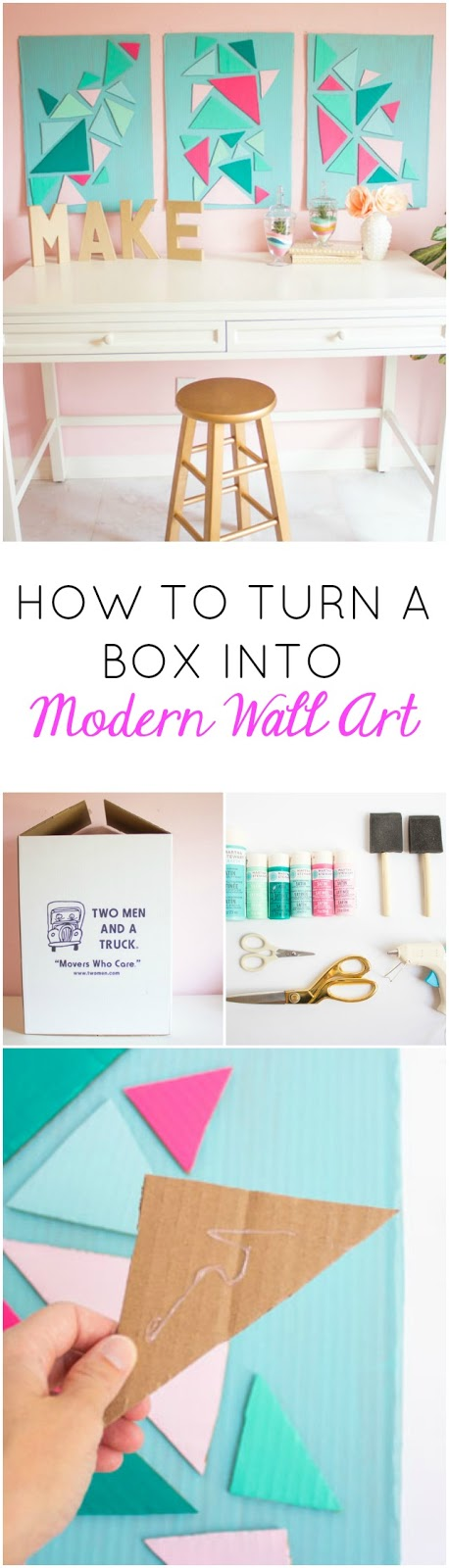 How to turn a cardboard box into modern wall art - so cool!