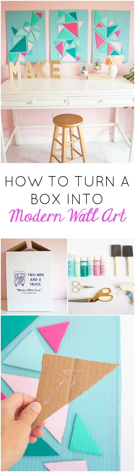 How to turn a cardboard box into modern wall art - so cool!