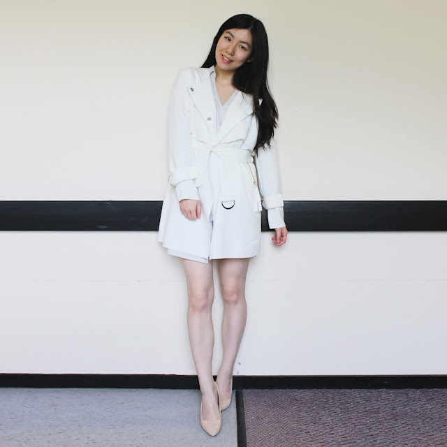 irisie haul, irisie blog review, irisie dress review, irisie honest review, irisie shop review, saboskirt taupe wrap playsuit, topshop white trench coat, white trench coat outfit, irisie outfit