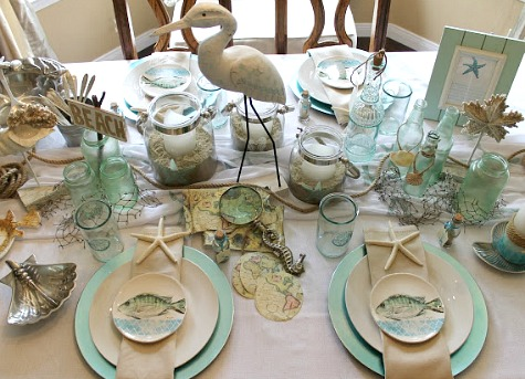 Beach Table Decor Idea Sea Green