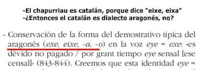 Chapurriau, catalán, eixe, eixa, catalán dialecto aragonés