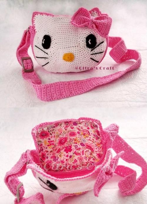 HELLO KİTTY BAG. CROCHET PATTERN. #macrameyarn #crochetbag #hellokittybag #kidscrochet #amigurumihellokitty #amigurumidoll