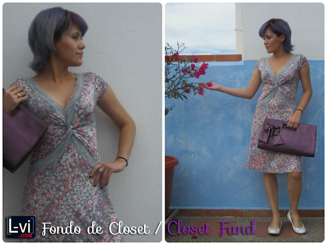 Purple hair, purple clutch & flowery dress by LuceBuona