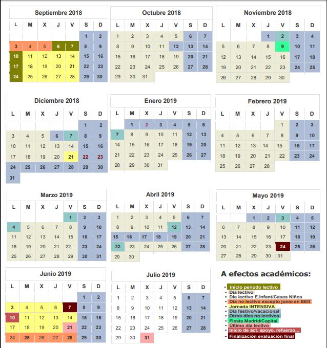 Calendario Escolar Madrid.Calendario Escolar Madrid Curso 2018 2019