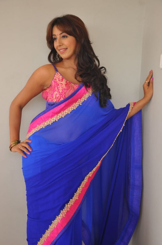 Sanjana photoshoot in blue saree