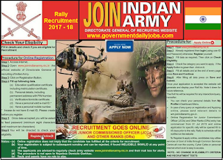Army Rally Recruitment 2017-18 Sol GD Clerk Bharti