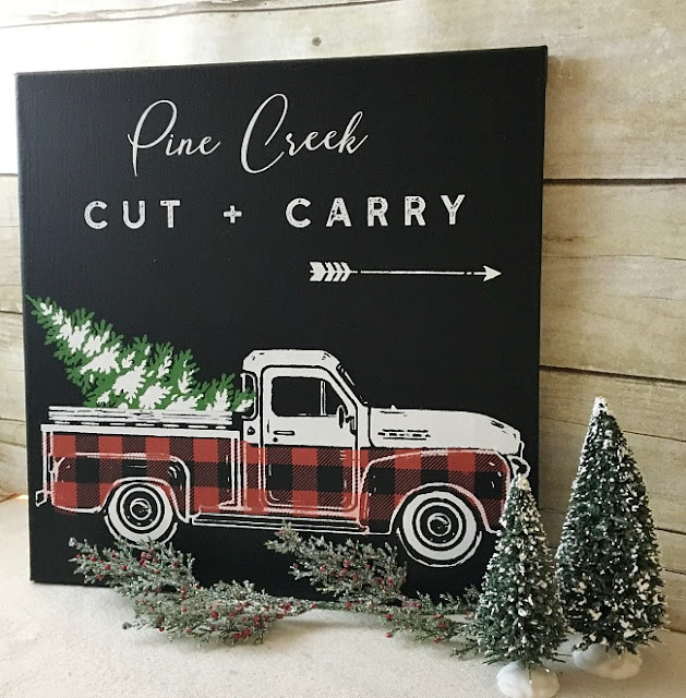 Vintage Paint and more... trendy red and black buffalo plaid done with the vintage truck and winter add on transfers on a black artist stretch canvas