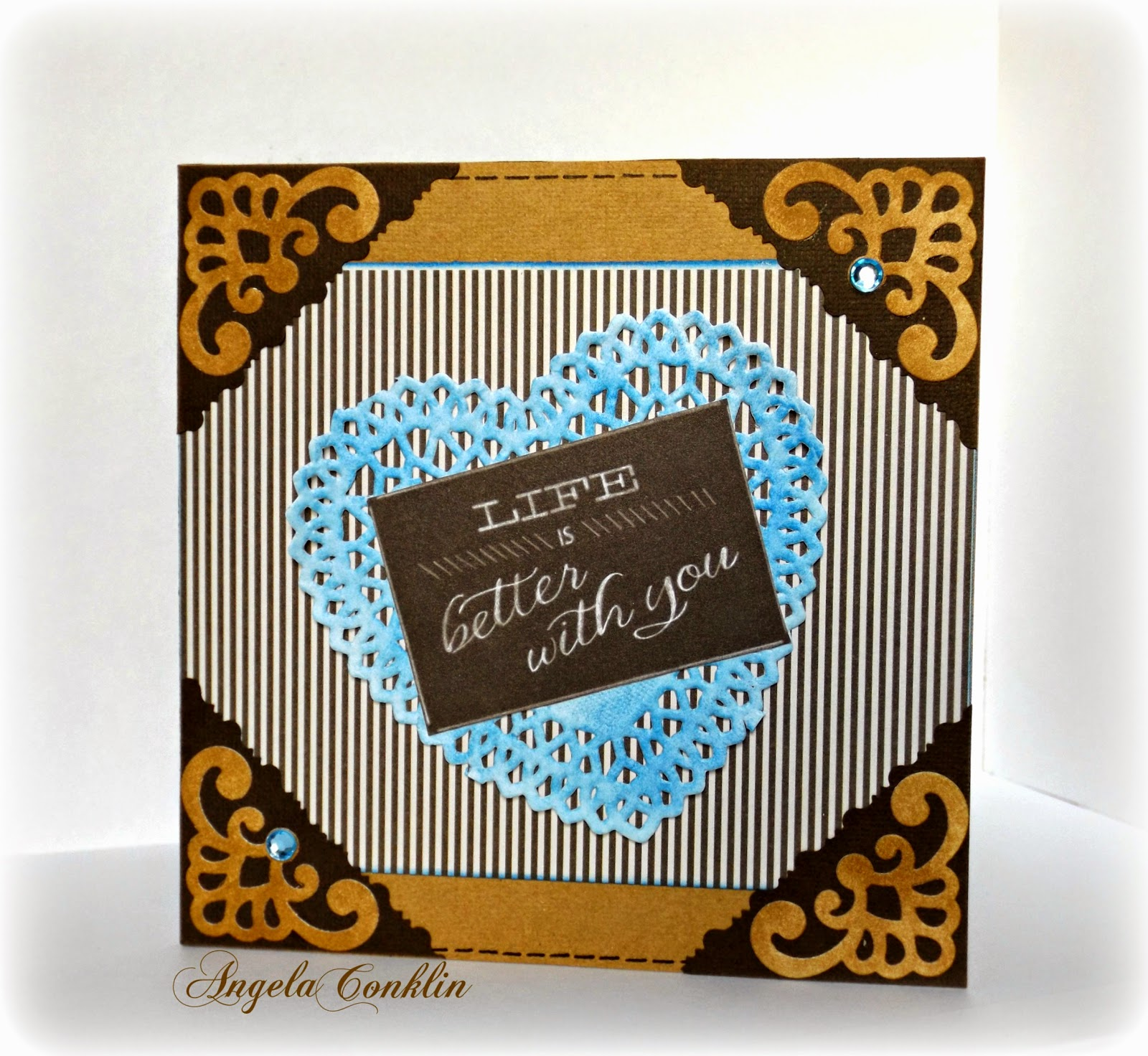 Handmade Valentine's Day Card: Brown and Blue Masculine Old-West Valentine